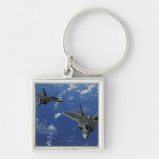 US Air Force F-22 Raptors in flight near Guam Silver-Colored Square Key Ring