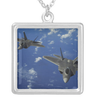 US Air Force F-22 Raptors in flight near Guam Silver Plated Necklace