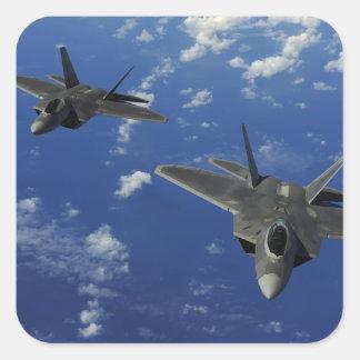 US Air Force F-22 Raptors in flight near Guam Square Sticker