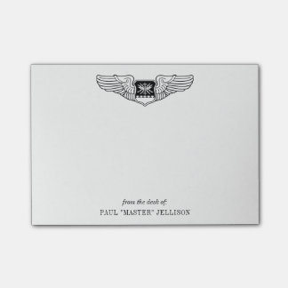 US Air Force Nav WSO Wings with Custom Name Text Post-it Notes