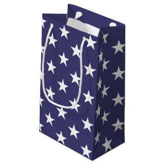 US AMERICAN FLAG WHITE AND BLUE STARS SMALL GIFT BAG
