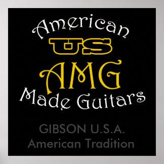 US American Made Guitars Gibson USA Poster