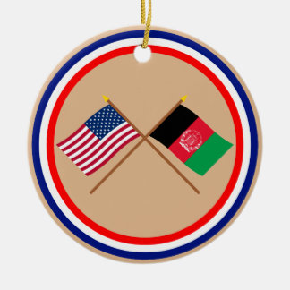 US and Afghanistan Crossed Flags Christmas Ornament