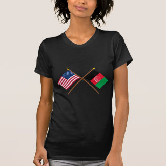 US and Afghanistan Crossed Flags T-Shirt