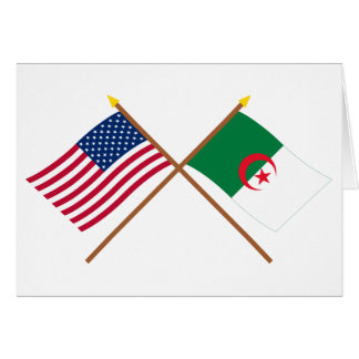 US and Algeria Crossed Flags Card