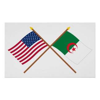 US and Algeria Crossed Flags Posters