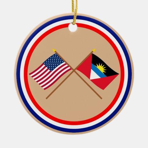 US and Antigua & Barbuda Crossed Flags Ornament