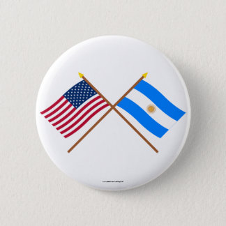 US and Argentina Crossed Flags 6 Cm Round Badge