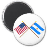 US and Argentina Crossed Flags 6 Cm Round Magnet