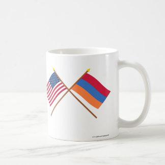 US and Armenia Crossed Flags Coffee Mug