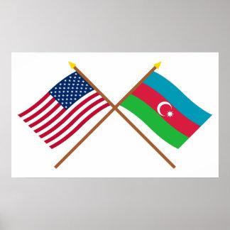 US and Azerbaijan Crossed Flags Poster