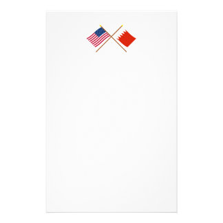 US and Bahrain Crossed Flags Stationery