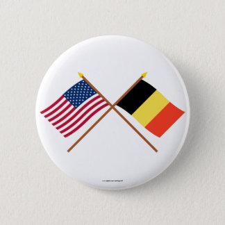 US and Belgium Crossed Flags 6 Cm Round Badge