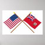 US and Bermuda Crossed Flags
