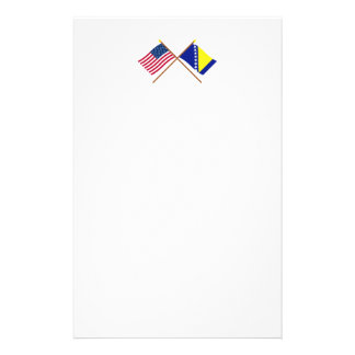 US and Bosnia & Herzegovina Crossed Flags Stationery