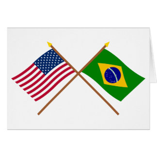 US and Brazil Crossed Flags Card