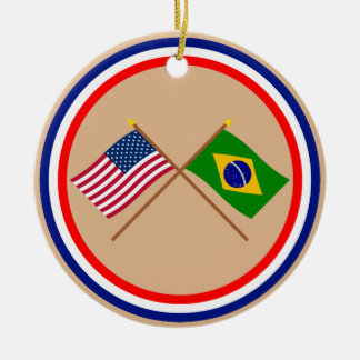 US and Brazil Crossed Flags Christmas Ornament