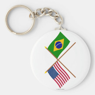 US and Brazil Crossed Flags Key Ring