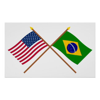 US and Brazil Crossed Flags Poster