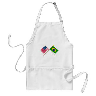 US and Brazil Crossed Flags Standard Apron