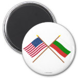 US and Bulgaria Crossed Flags