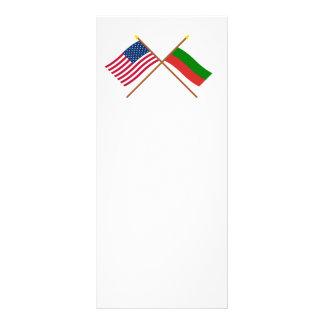 US and Bulgaria Crossed Flags Customised Rack Card