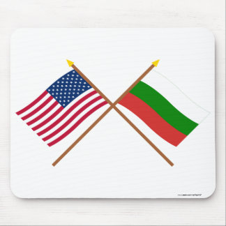 US and Bulgaria Crossed Flags Mousepads