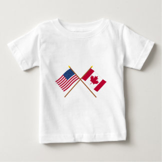 US and Canada Crossed Flags Baby T-Shirt