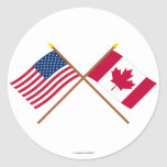 US and Canada Crossed Flags Sticker