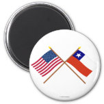 US and Chile Crossed Flags 6 Cm Round Magnet