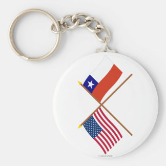 US and Chile Crossed Flags Basic Round Button Key Ring