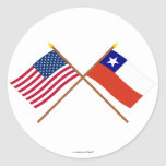 US and Chile Crossed Flags Round Sticker