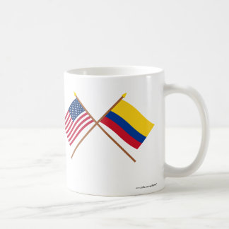 US and Colombia Crossed Flags Coffee Mug
