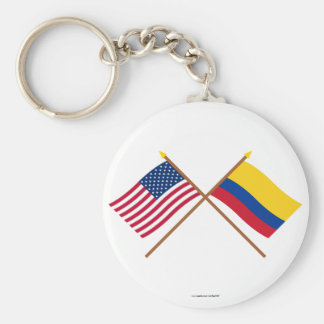 US and Colombia Crossed Flags Key Ring