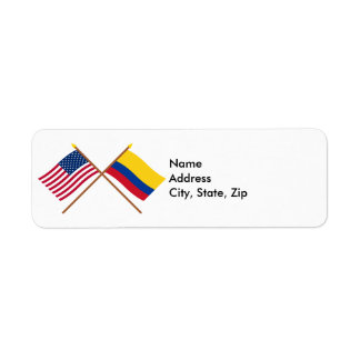US and Colombia Crossed Flags Return Address Label