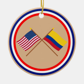 US and Colombia Crossed Flags Round Ceramic Decoration