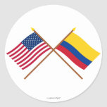 US and Colombia Crossed Flags Round Stickers