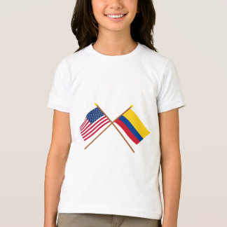 US and Colombia Crossed Flags T-Shirt