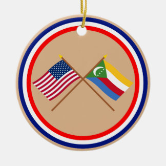 US and Comoros Crossed Flags Double-Sided Ceramic Round Christmas Ornament