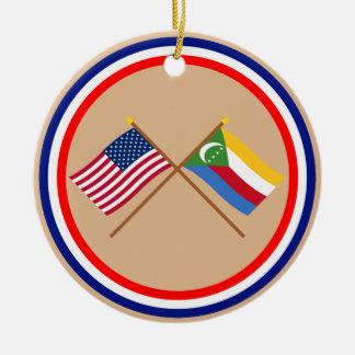 US and Comoros Crossed Flags Round Ceramic Decoration