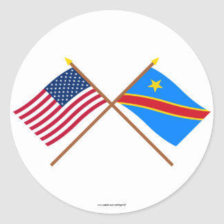 US and Congo Democratic Republic Crossed Flags Classic Round Sticker