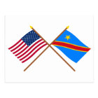 US and Congo Democratic Republic Crossed Flags Postcard