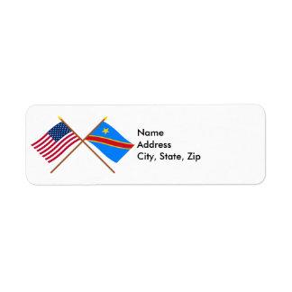 US and Congo Democratic Republic Crossed Flags Return Address Label