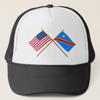 US and Congo Democratic Republic Crossed Flags Trucker Hat