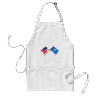 US and Connecticut Crossed Flags Standard Apron