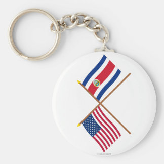 US and Costa Rica Crossed Flags Key Ring