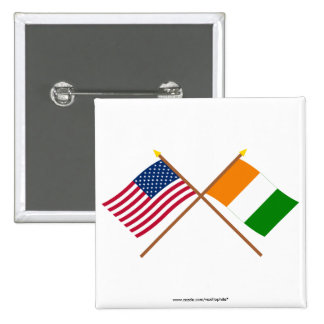 US and Cote d'Ivoire Crossed Flags 15 Cm Square Badge