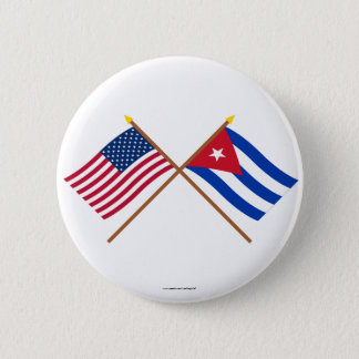 US and Cuba Crossed Flags 6 Cm Round Badge