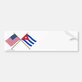 US and Cuba Crossed Flags Bumper Sticker