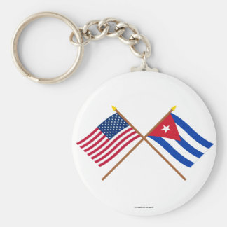 US and Cuba Crossed Flags Key Ring